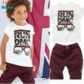 Niños libres del envío 2015 Nueva 2pce Traje Establece camisetas + Shorts Niños Bebés Ropa Casual Establece