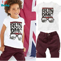 free shipping Children's 2015 New 2pce Suit Sets T-shirts+Shorts Baby Boys Casual Clothing Sets