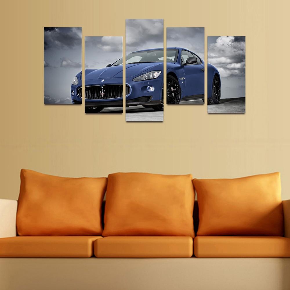 Original Oil Ink Canvas Print Blue Famous Car Painting On Canvas ...