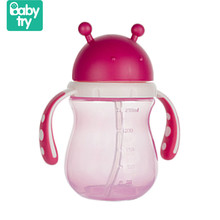 Babytry 250ml Baby Kids Water Drinking Pot Plastic Portable Leakproof Baby Feeding Bottle With Straw For Children Outside Carry