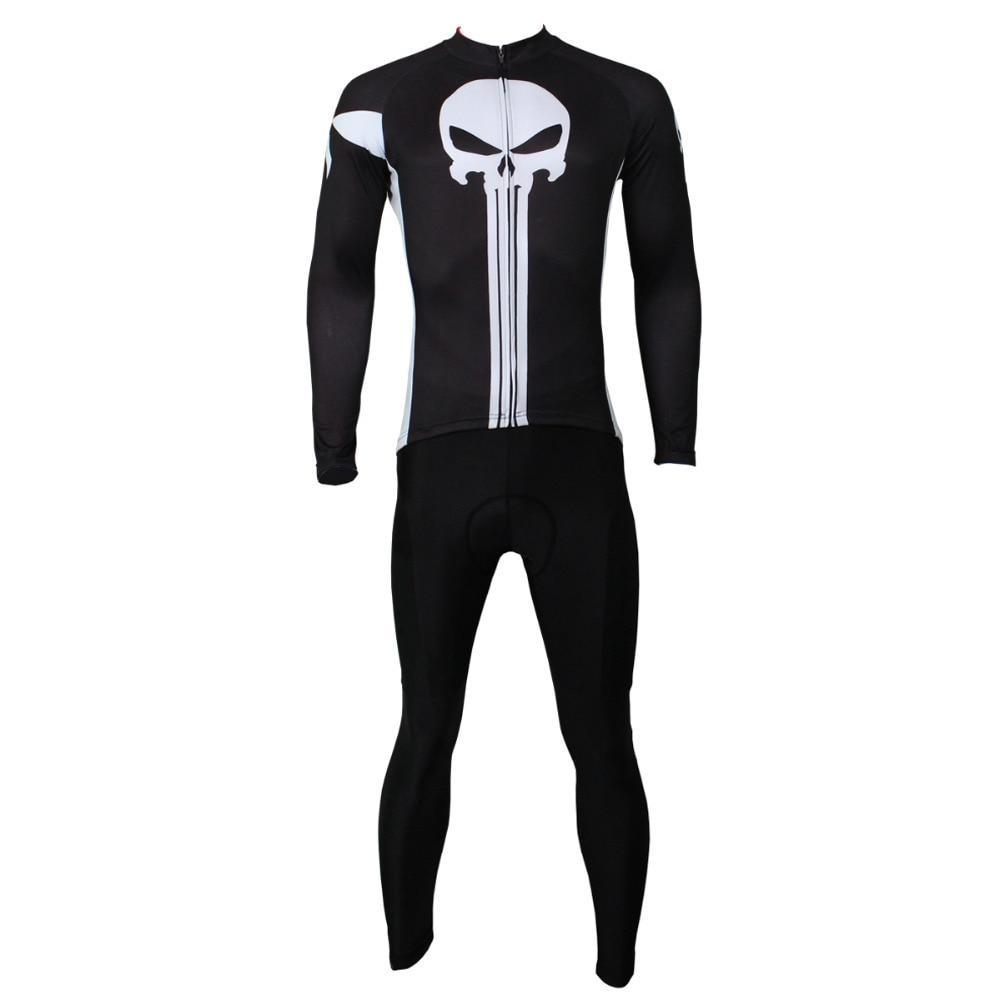 ФОТО Cycling Jersey Men Punisher Mountain Bike Cycling Clothing Men Bike Sportwear Long Sleeve Cycling Jersey Set X044