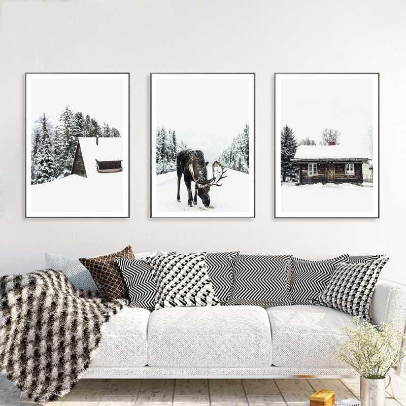 Inverno di Paglia Cottage Cavallo Neve Paesaggio della Tela di canapa Poster Senza Cornice Decorato Per Soggiorno camera Da Letto Decorazione Stampa