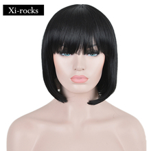 3071 Xi.rocks Short Black Hair Synthetic Bob Wigs For Women Heat Resistant Fiber Halloween witch bob Cosplay Wigs with Bangs