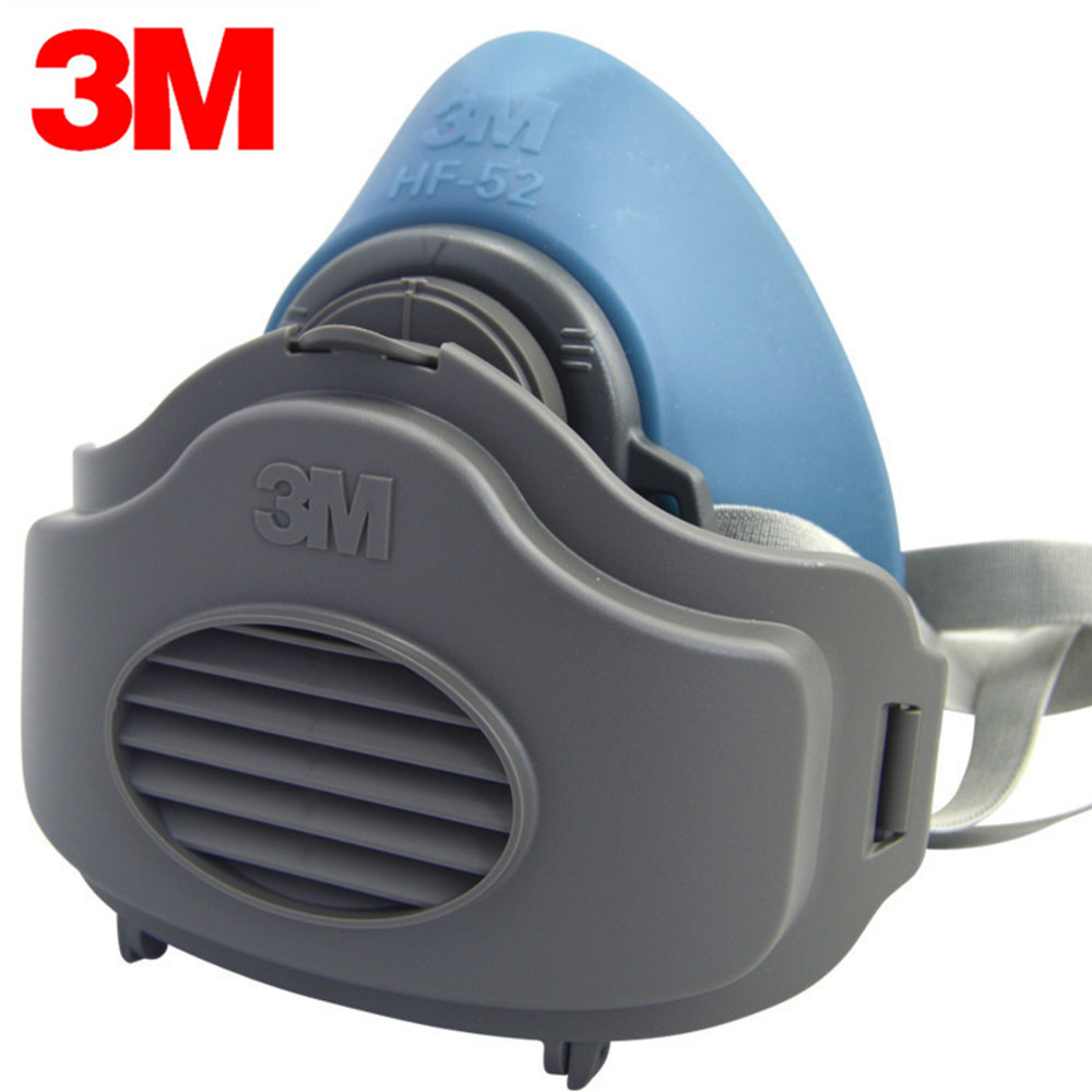 3M HF52+10pcs 3701 Filter Cotton Quality Silicone Half Face Gas Mask KN95 Dust Anti Industrial Conatruction Dust Pollen Haze