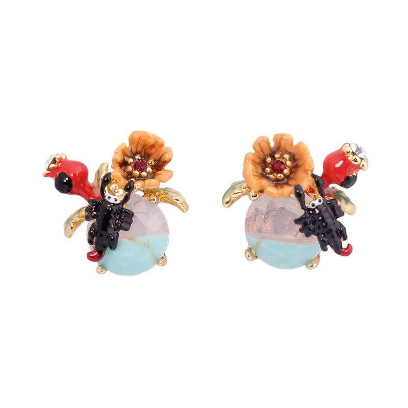 Unique luxury flower scorpion gem earrings for women enamel glaze stone flower stud earring fashion jewelry elegant faux gem rhinestone flower leaf brooch for women