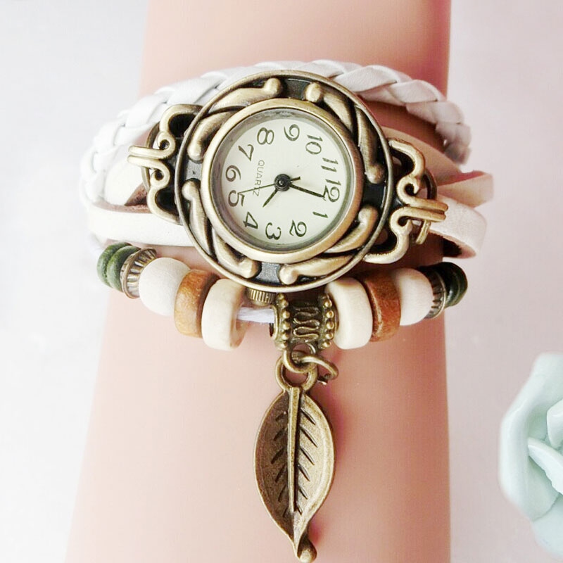 2017 New Classic Watch Round Case Quartz Analog Wrist Watch Bracelet With Weaved Faux Leather Band LL