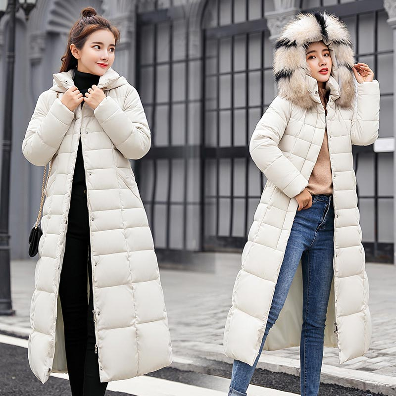 Down   jacket women 2018 new arrival fur collar hooded zippers long   down     coat   women jacket belt warm women winter jacket