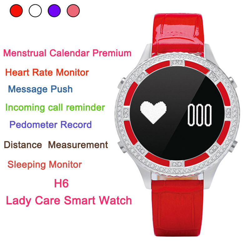 H6 Lady Care Smart watch Women Menstrual Calendar Premium Heart Rate Monitor smart band Waterproof IP67 bracelet For IOS Android cute love heart hollow out bracelet watch for women