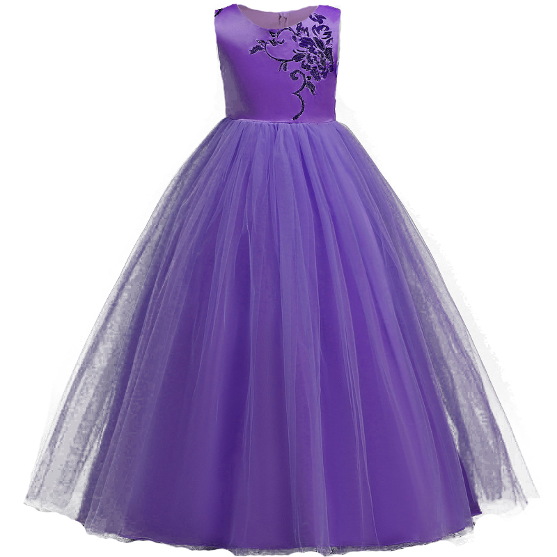 Teens Party Prom Dress Wedding Flower Girl Embroidery Dress Kids Girls Elegant Princess Sleeveless Pageant Formal long Dress girls short in front long in back purple flower girl dress summer 2017 girl formal dress kids party princess custume skd014283