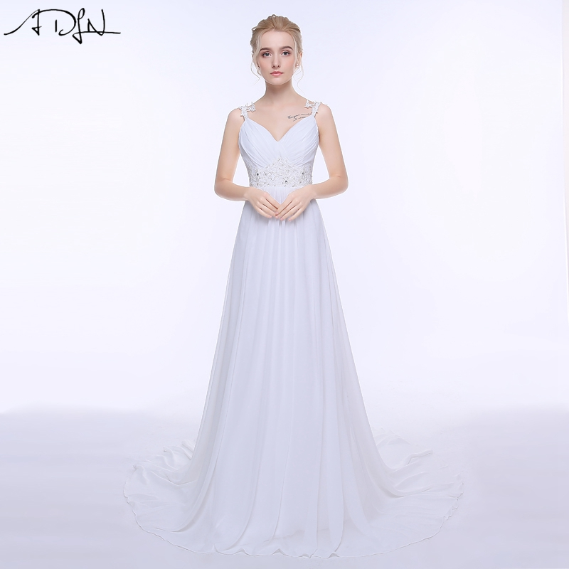 Adln sexy spaghetti straps chiffon beach wedding dresses for Cheap wedding dress under 50