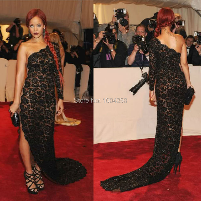 2016 Beyonce Black Dress Sheer Side One Shoulder Lace Fish Tail Mermaid  Sweep Train Celebrity Dress Red Carpet Gown Custom Made ec45fae907f7