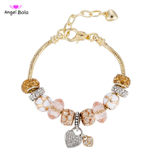 Pink Glass Beads fit European Charm Bracelets&Bangles with Lobster Chain for Women&Girls Best Christmas Gift P-013