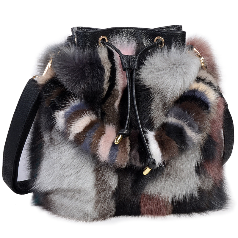 High-End Ladies Real Fox Fur Bucket Bag Women Tote Bags Genuine Leather Design Shoulder Bag Cowhide Handbag evening Party Bag ellacey women bucket bags fox fur genuine leather handbags fur women bag socialite basket real leather small christmas tote bag