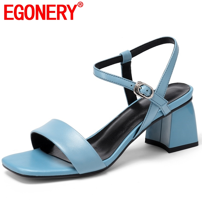 EGONERY student cozy gem blue woman sandals 2019 summer white wedding shoes fashion cute girl orange 5.5cm med heels women shoes-in Middle Heels from Shoes    1