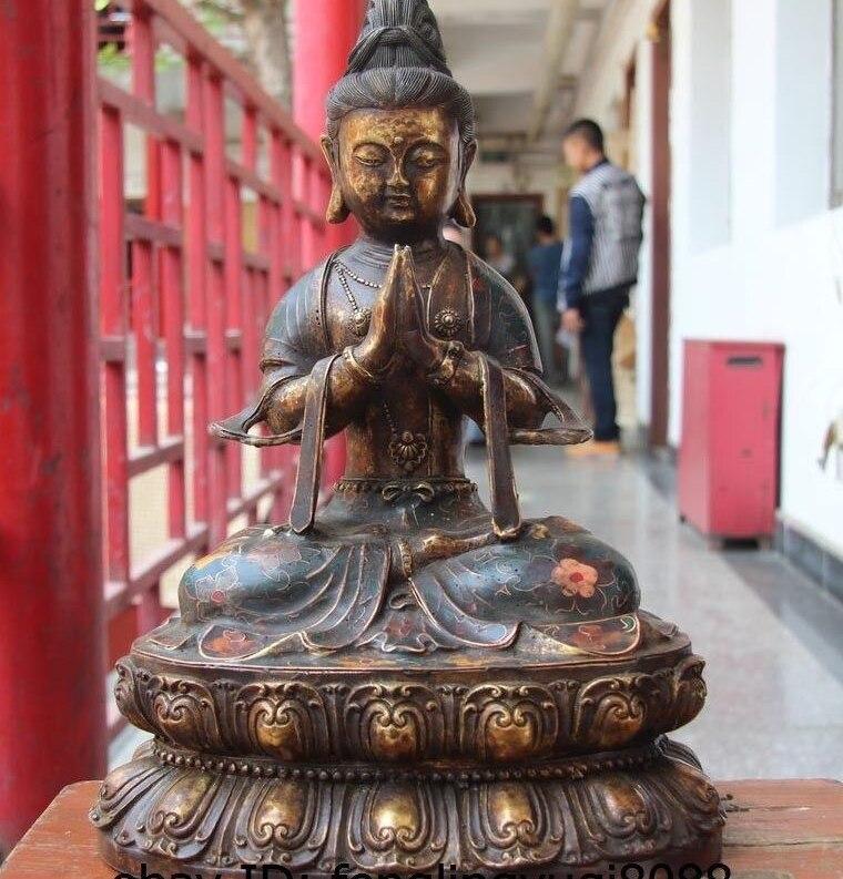 China Bronze Copper Cloisonne Gild Guanyin Kwan-yin Bodhisattva Buddhism Statue
