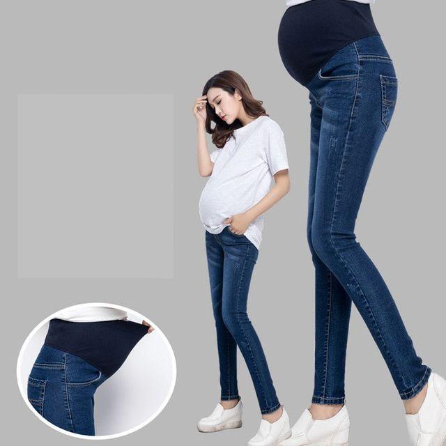 100% Algodón de Maternidad Pantalones Vaqueros Otoño Embarazo Vientre Pantalones Delgados Elásticos Pantalones de Mezclilla para Las Mujeres Embarazadas