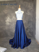 Sexy Royal Blue Pearls Two Piece Prom Dresses 2017 High Neck A Line Party Dresses vestidos de gala galajurken