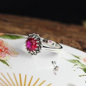 Image 3 - Véritable pur anneau 925 en argent Sterling Simple mode femmes anneaux naturel grenat pierre Fine bijoux Anillo Compromiso