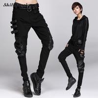 2018 Steampunk Hip Hop Women Workwear Multi Pocket Pants Gothic Lace Up Trousers Casual Cotton Pants Black Fashion Streetwear