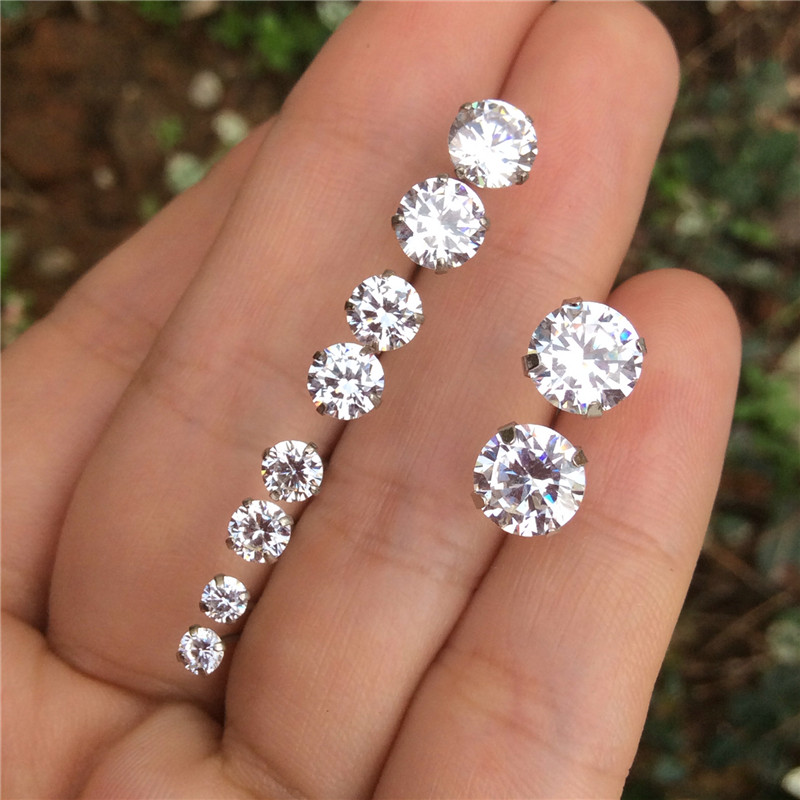Genuine 925 Sterling Silver Round Cubic Zirconia Stud Earrings For Womens Cz Clear Stones Mens Small