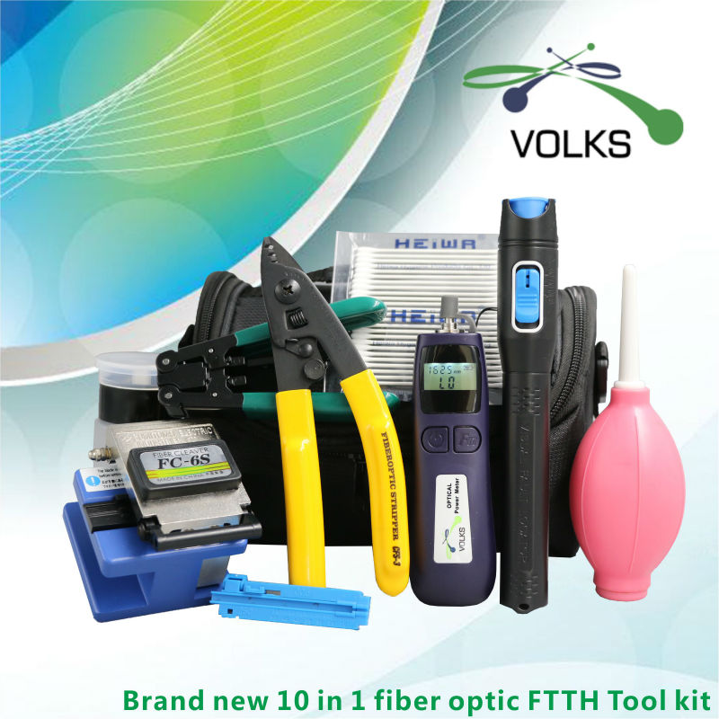 10 In 1 Fiber Optic FTTH Tool Kit with FC-6S Fiber Cleaver -50~+26dBm Optical Power Meter 5km Visual Fault Locator Air Blower 10pcs lot 100% htc m7 801e for htc one m7 801e