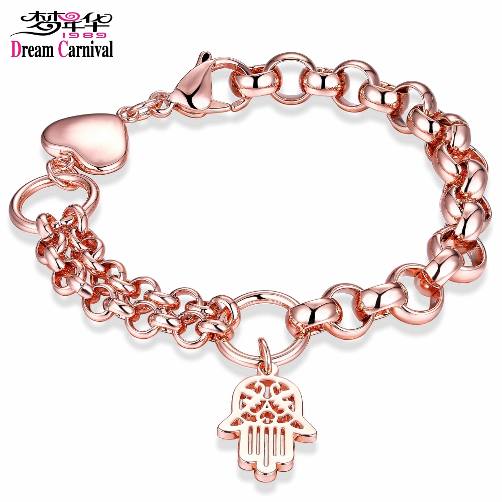 DreamCarnival1989 Fatima Hands Charms Stainless Steel Bracelet Femme Rose Gold Color Chains Christmas Gift Wholesales Armbandjes