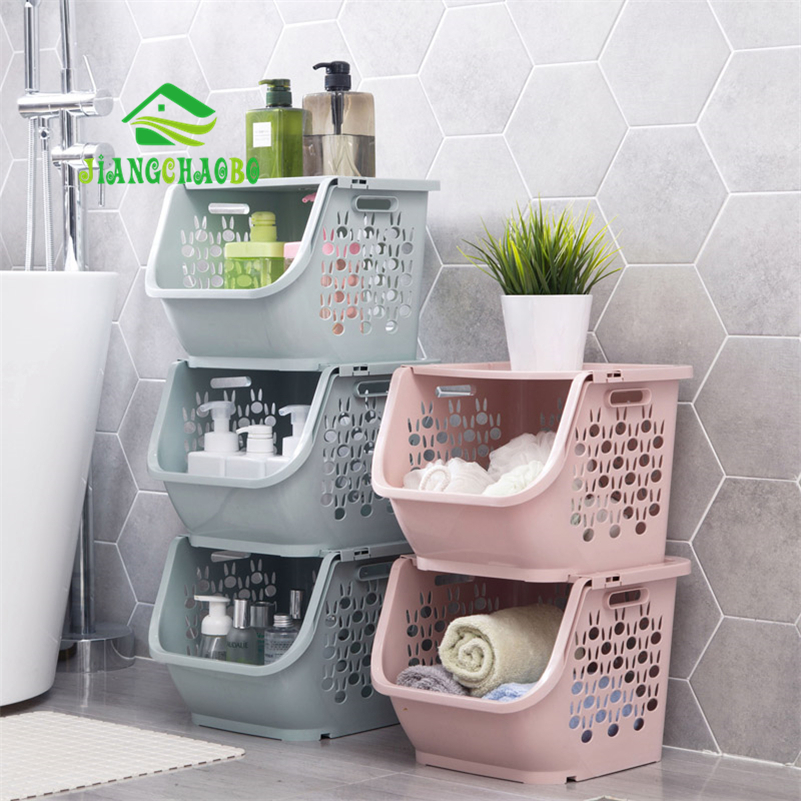 Us 10 49 35 Off Jiangchaobo 1 Piece Stackable Storage Basket Plastic Toy Baskets Kitchen Snacks Vegetable Bathroom Shelves In