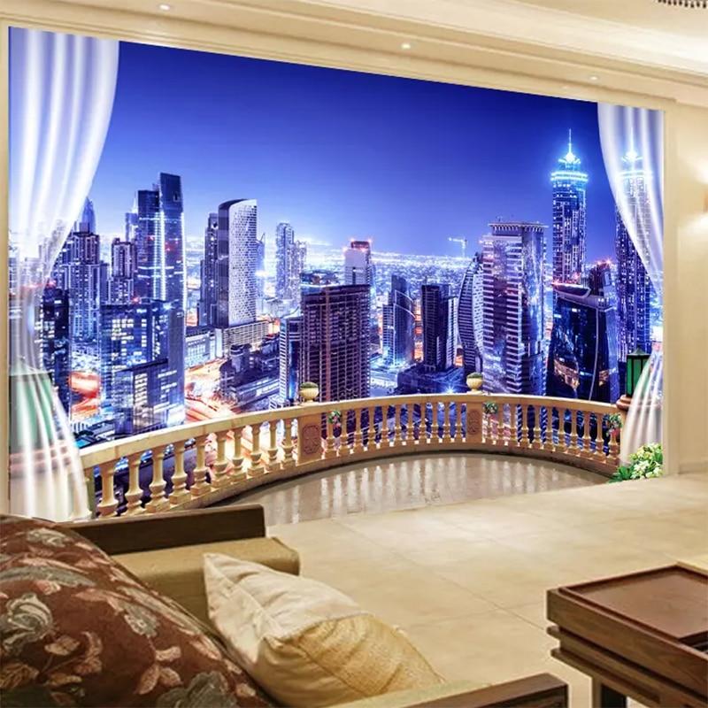 Custom Photo Mural Wallpaper 3D New York City Night Mural
