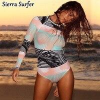 Lycra Surf Swimwear Women Windsurfing Wetsuit Tankini Swimsuits Surfing For 2018 Sexy Long Sleeve Flower 2067 Biquine Women'S