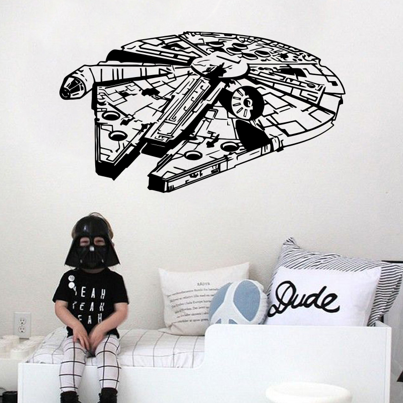 Star Wars Wall Sticker Vinyle Home Decor Decal 3D Millennium Falcon Fighter Murales Enfants Enfants Enfants Ados Garçons Chambre Chambre Dortoir
