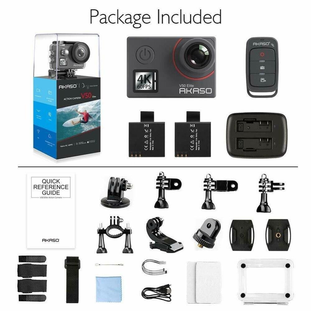 Akaso V50 Elite natif 4 K/60fps 20MP Ultra HD 4 K caméra d'action WiFi écran tactile commande vocale EIS 40 m caméra étanche - 6
