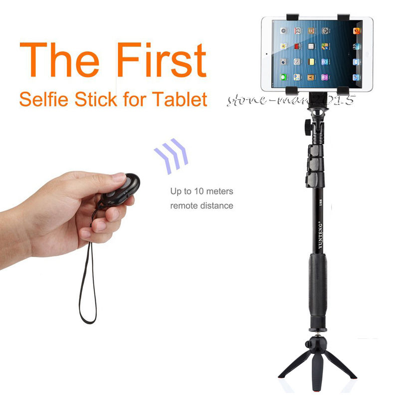 Camera Bluetooth Monopod Remote+Selfie Stick YUNTENG Tripod+Tablet Holder For Samsung TAB 2/3/4/S6 S7 Edge Plus S5 /Gopro Camera