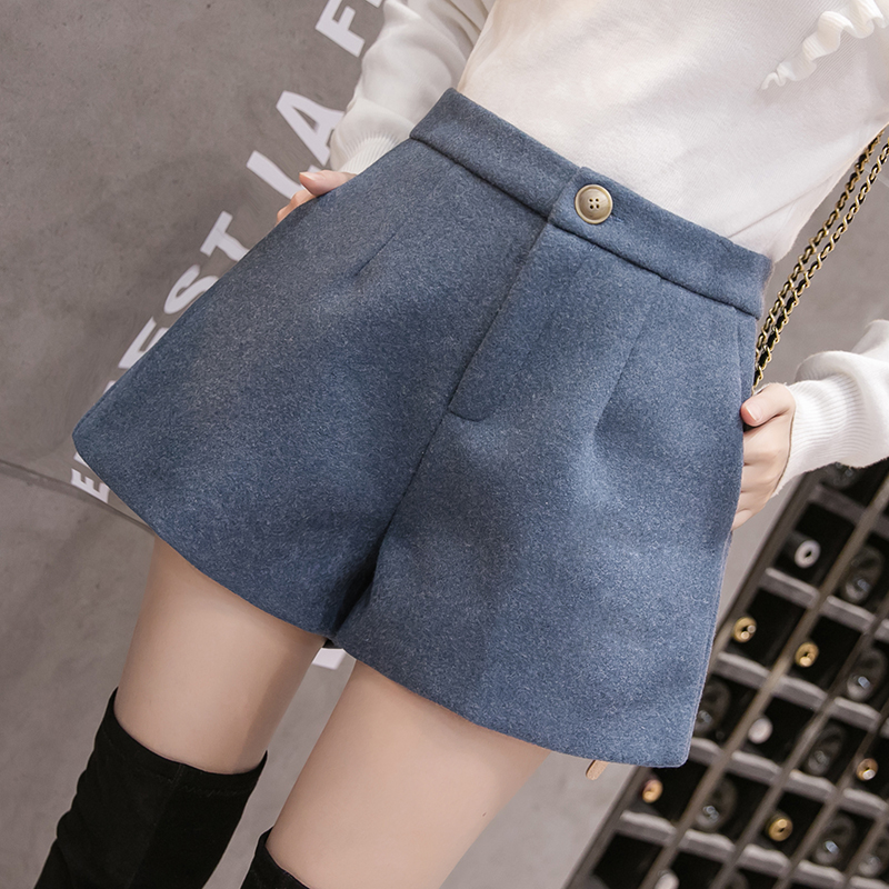 2019 New Autumn Winter Women Wool   Shorts   Korean Casual All-match Wool   Shorts   Female Boots   Shorts