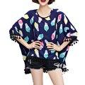 Mulheres Tops T do verão das mulheres Plus Size Ice Cream Tops mulheres rodada Neck manga curta borla inferior All jogo Casual camiseta de algodão