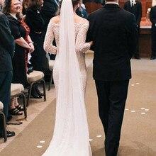 Белая слоновая кость, 2 слоя, элегантная свадебная фата, фата невесты, вечерние вуали, свадебные аксессуары с расческой, простая свадебная фата, Veu De Noiva