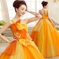 2017 orange nueva princesa de moda los vestidos de bola de un hombro cristales detalles orange vestidos de quinceañera para sweet 16 años