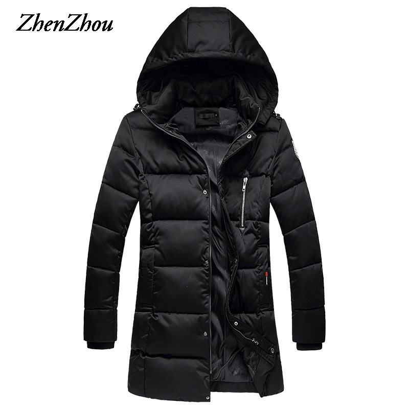 Parka Mens Winter Jacket Hooded 2017 Fashion Stand Collar Zipper Solid Thick Long Winter Coat Men Plus Size M-5XL Top Quality winter jacket men 2016 brand parka plus size men s hooded parka zipper quilted coat casual jackets