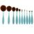 10 pçs/set Dobrável Dente Forma de Pincel de Maquiagem Com Caixa de Pó Blush Lip Kits de Escova Cosméticos Make up Tools