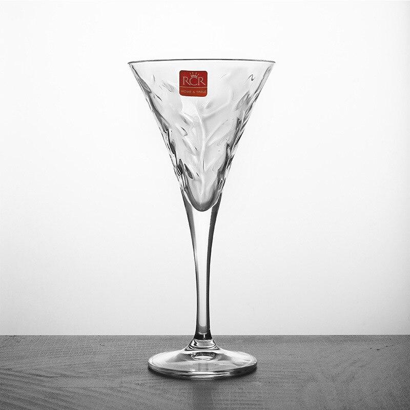 Coupe à motif de feuille verre sans plomb verre à champagne verre à vin rouge verre à cocktail