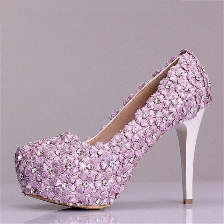 Free Shipping 2015 Fashion Light Purple Lace Flowers