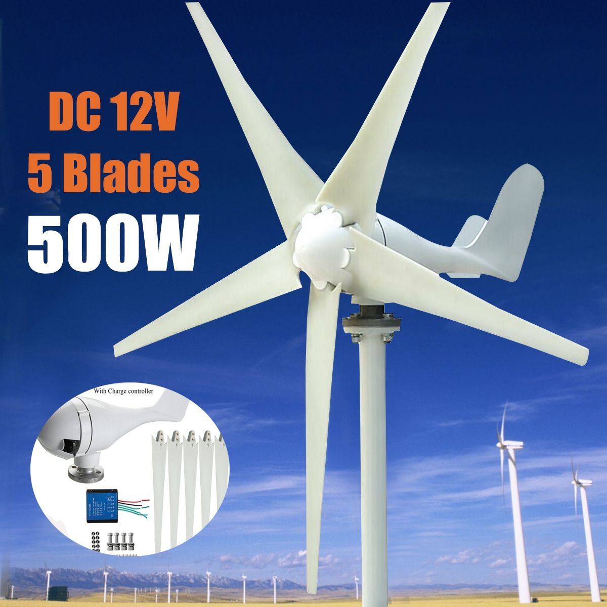 Max 600W Wind T urbine Generator DC 12V24V 5 Blade Power Supply + windmill Charge Controller