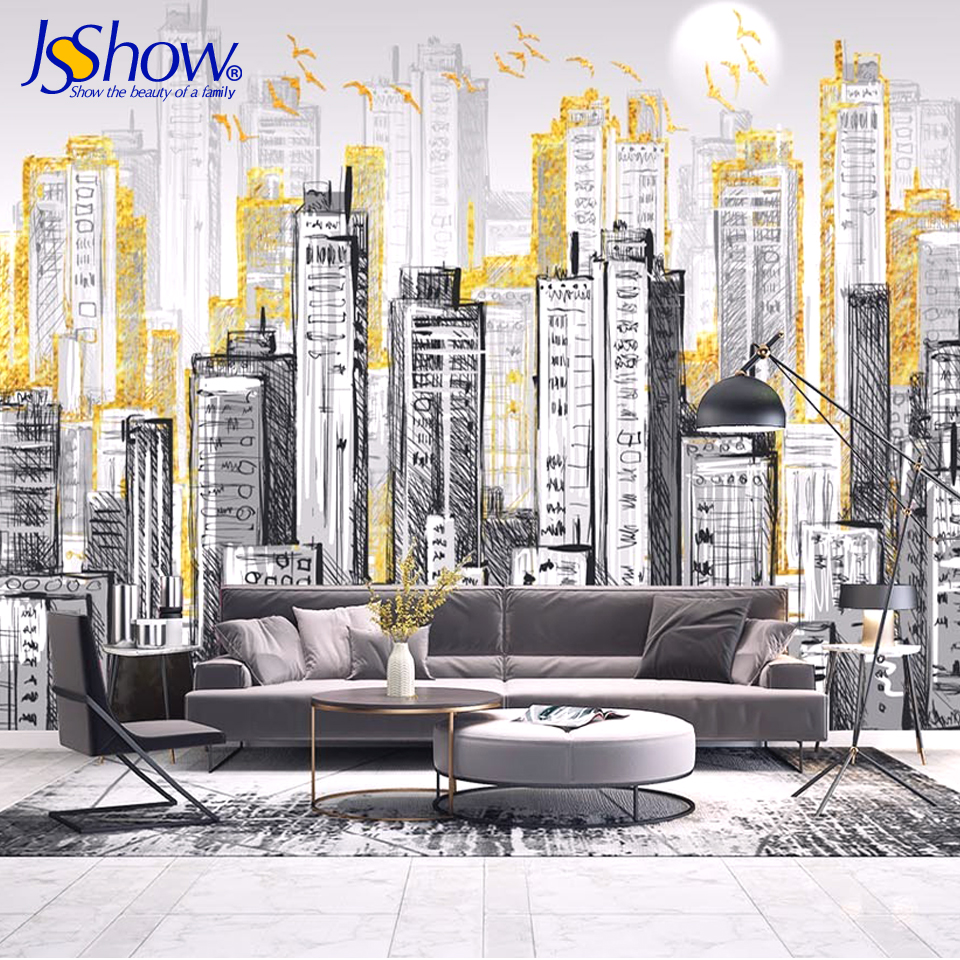 Jsshow custom 3dwallpaper nordic city modern minimalism living room decoration photo wallpaper mural wallpaper bedroom wallpaper free shipping custom 3d mural living room sofa bedroom modern office background wallpaper shop in singapore city at night