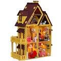 Tamaño grande Kids Educational DIY Dollhouse-Hecho A Mano De Madera Miniatura Modelo De La Casa Incluyen Muebles, Lámparas, Herramientas, Envío Libre gratis