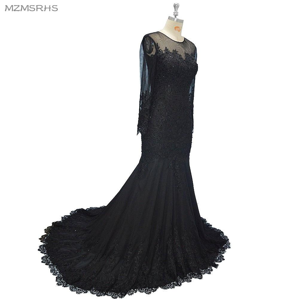 Langarm V-Ausschnitt langes Abendkleid Meerjungfrau schwarzer Spitze - Kleider für besondere Anlässe - Foto 3