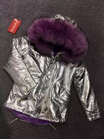 2018 Brand Sliver fur parka puffer style real raccoon fur trim style elegant lilac color faux rabbit fur parka clothes
