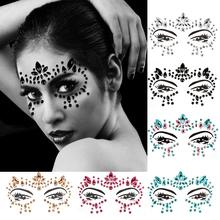 METABLE 6 PCS Mermaid Face Jewelry Fashionable Removable Rhinestone Tattoo Face Gem Sticker for Valentine's Day Costume Party недорого