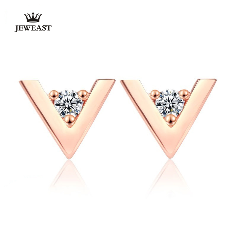 18K Pure Gold Earring Real AU 750 Solid Gold Earrings Fine V Shape Zircon Upscale Trendy Classic Party Jewelry Hot Sell New 2018 18k pure gold earrings white rose star fine jewelry genuine real 750 solid 2017 hot selling women girl gift trendy party good