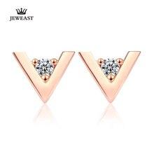 Boucles doreilles en or pur AU 750 18K, bijoux de fête classiques en Zircon fin, en forme de V, tendance, tendance, offre spéciale, nouvelle collection 2020