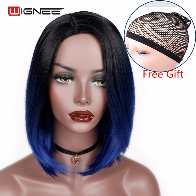Wignee Ombre Blue Color Short Straight Hair Synthetic Bob Wig For