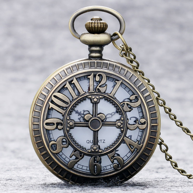 New Cross Hollow Arabic Number Cover Pocket Watch Necklace Chain Fob Watch Clock Vintage Style Gifts reloj de bolsillo